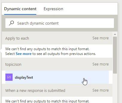 Microsoft Flow Likert Displaytext