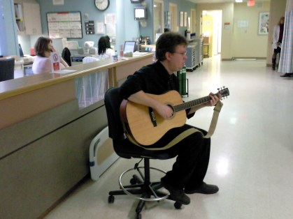 Playing for the kids at HCMC Hospital in Minneapolis.