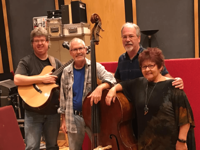 David, Jim Chenoweth, Dave Schmalenberger, and Vicky at Creation Audio in Minneapolis recording 'Play On'