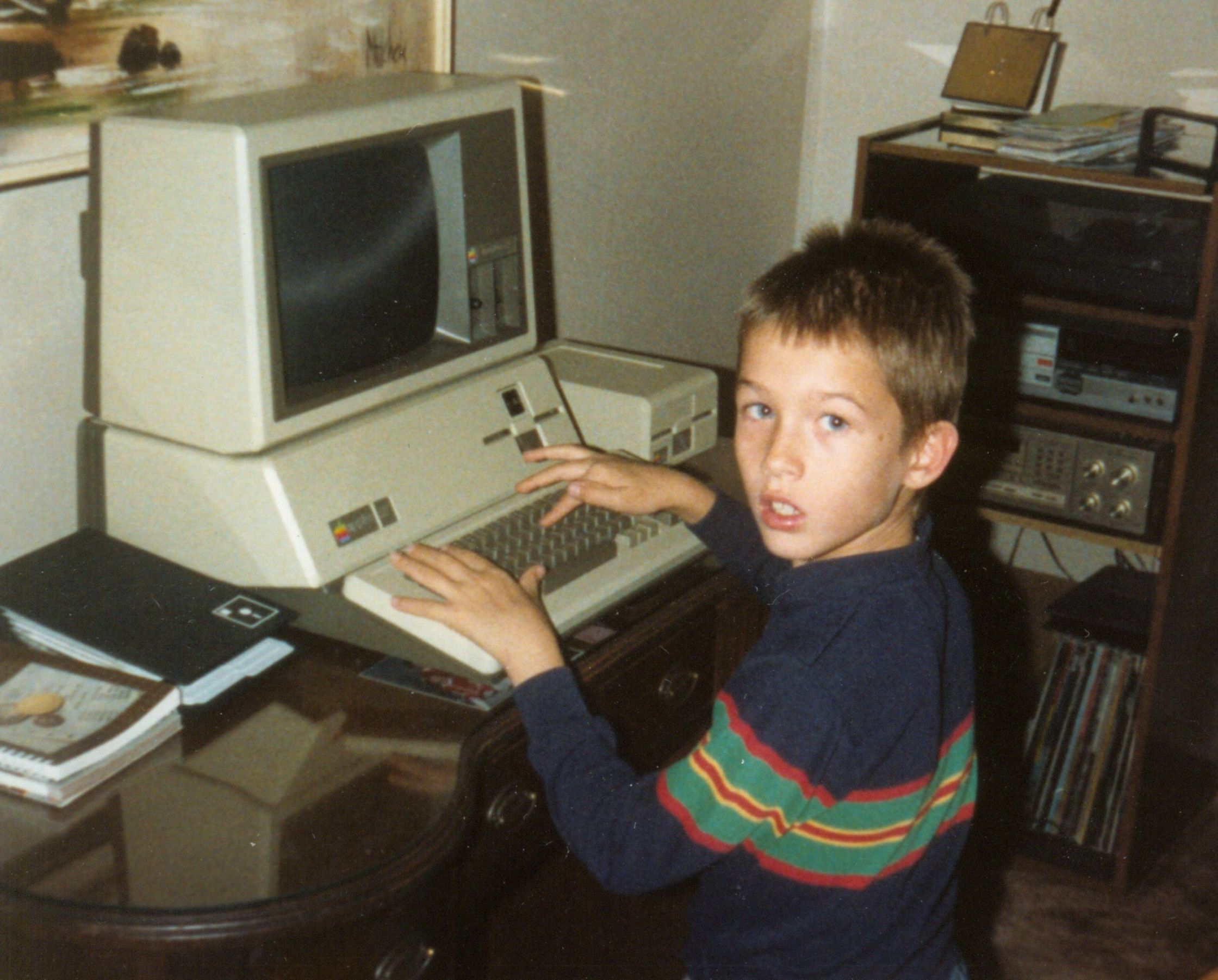 David Martin with his first computer, an Apple III in 1988
