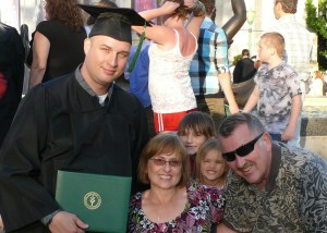 David Martin - Graduation from Ivy Tech Community College in Bloomington. David is pictured here with his parents and two kids.