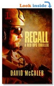 Cover Recall a novel, with look inside text, military operator with assault rifle