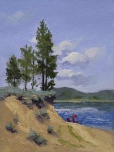 lake davis view   8″ x 6″ oil on canvas board SOLD private collection