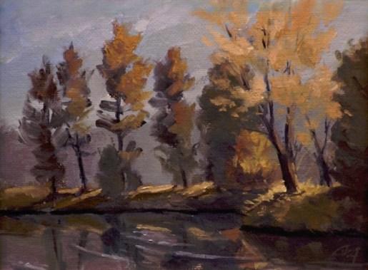 "idlewild park - fall   6"" x 8"" oil on canvas board"