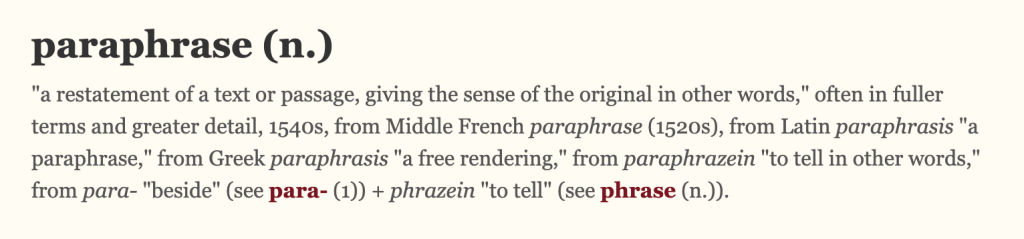 Origin of paraphrasing