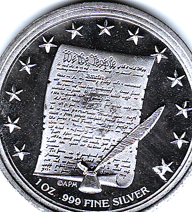 1 OZ .999 Fine Silver Lady Liberty US Constitution Round Back