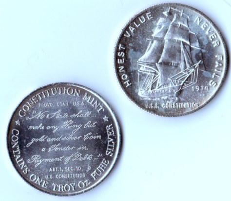 1 Troy OZ Pure Silver Constitution Mint USS Constitution Round - 1974