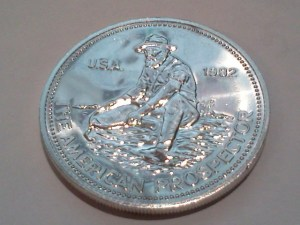 1982 Engelhard American Prospector 1oz .999 Fine Silver Round – Uncirculated - Obverse