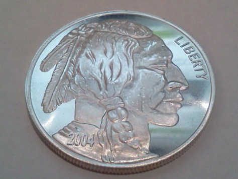2004 Indian Head and Buffalo Silver Round 1 OZ .999 Fine Silver