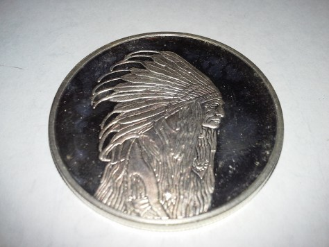 1 Oz .999 Fine Silver American Indian Chief in Full Headdress and Tipi Pride - Courage - Strength Round