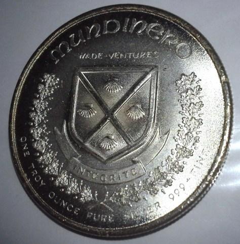 1 OZ .999 Fine Silver 1973 Wade Ventures MUNDINERO Round