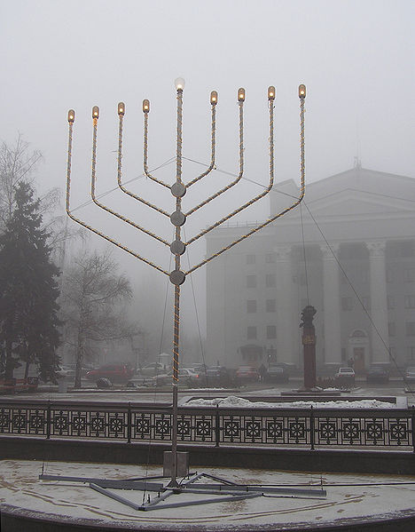A Menorah in Donetsk Ukraine Photo by Andrew Butko