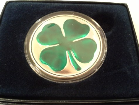 1 oz .999 Fine Silver Irish Green Enamel Four-Leaf Clover Round With Display Box