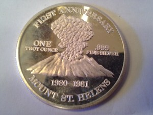 1 OZ .999 Fine Silver First Anniversary Mount St. Helens Harry Truman Commemorative Round – 1981