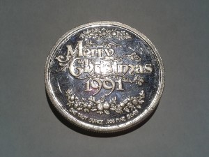 1 OZ .999 Fine Silver St. Nick Art Christmas Round - 1991