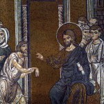Christ healing the man with a withered hand, Byzantine mosaic. Mark 3:1-6, Luke 6:6-11 and Matthew 12:9-13