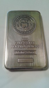 .999 Fine Silver Idaho State Seal Ten Troy Ounce Bar by Idaho Silver