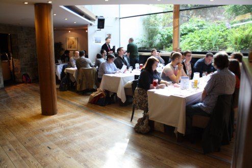 Delegates sitting down to the conference dinner at The Byre Theatre