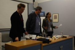 David Mitchell, Professor Paul Harris and Dr Rose Harris-Birtill at the evening reading
