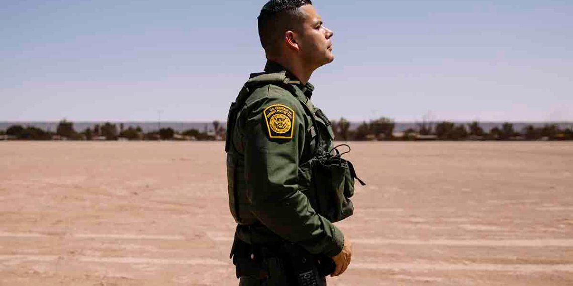 "Eduardo Jacobo, who has served as a Border Patrol agent in the El Centro Sector for about a decade, on duty in Calexico, Calif., July 10, 2019. Overwhelmed by desperate migrants and criticized for mistreating the people in their care, many agents have grown defensive, insular and bitter. ""The difference between doing the job now and when I started is like night and day,"" said Jacobo. (Kendrick Brinson/The New York Times)"