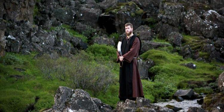 Haukur Dor Bragason a members of the Asatru Association, a contemporary Icelandic pagan society attends a ceremony at the Pingvellir National Park near Reykjavik June 21, 2012. REUTERS/Silke Schurack
