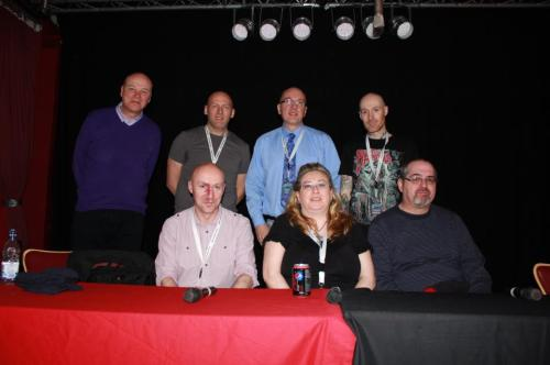 Writing Horror panel with (l-r) Simon Clark, Christopher Brookmyre, me, Gordon Roxborough, Theresa Derwin, Wayne and Steve Lockley (photo: Gary Main)