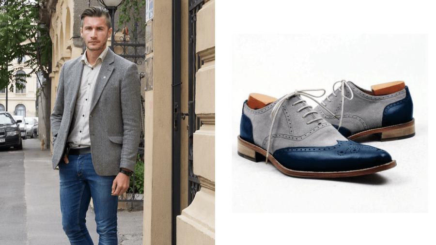 zapatos azules agujetas grises