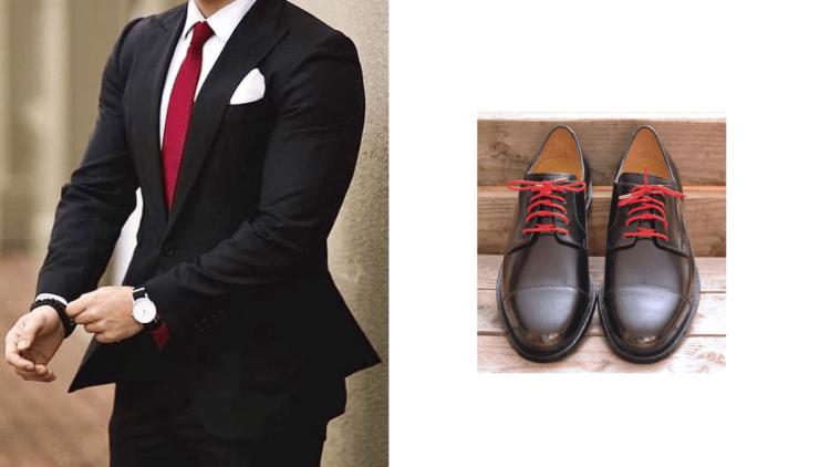 Como combinar zapatos negros agujetas rojas