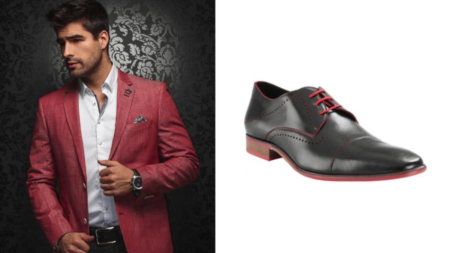 zapatos negros con agujetas rojas