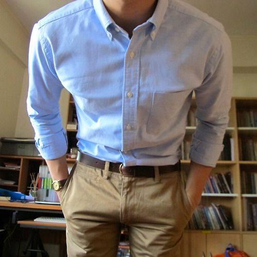 camisa casual pantalon caqui