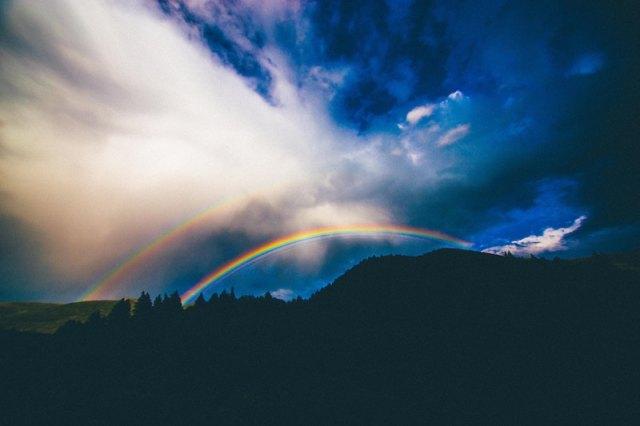 big view of mountain rainbow