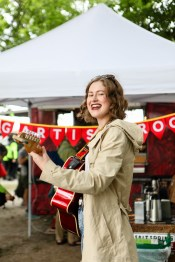 A young performer at Salt Spring Coffee's Young Artist stage at the Vancouver Folk Music Fesival.