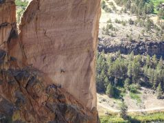 This is what Smith Rock is famous for, rock climbing.