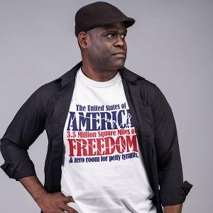 Man wearing a very cool t-shirt.