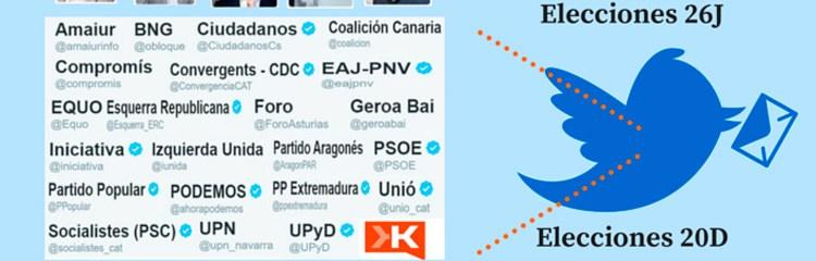 Elecciones generales en Twitter e influencia de los candidatos al 26J en redes sociales