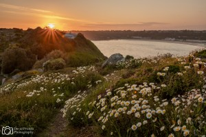 Sunset over Brelades Bay from Portelet common, Jersey, Channel Islands