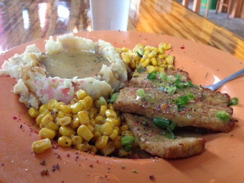 Tempeh, corn, mashed potato with mushroom gravy. Papa G's Portland, OR.
