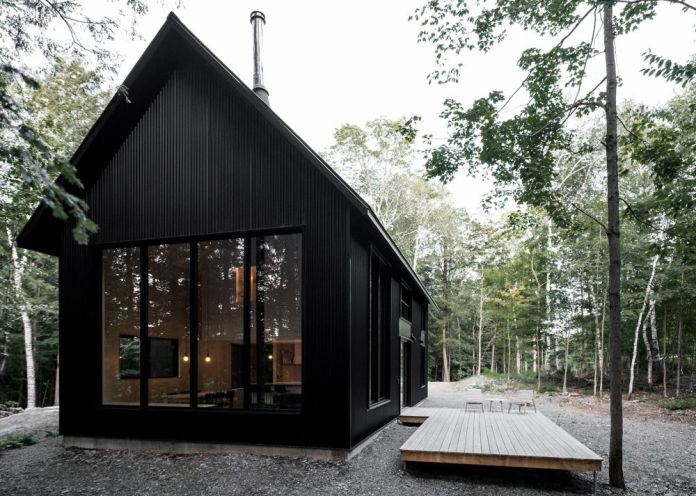 black wooden house