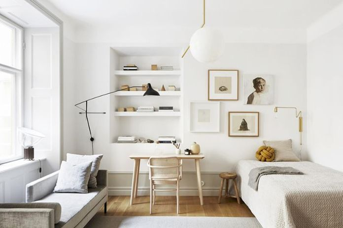 scandinavian small bedroom