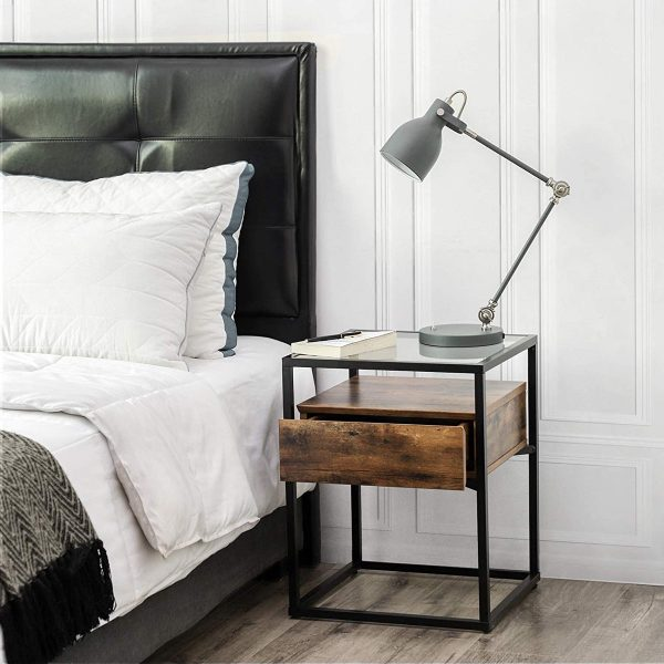 wooden Iron Bedside Table interior