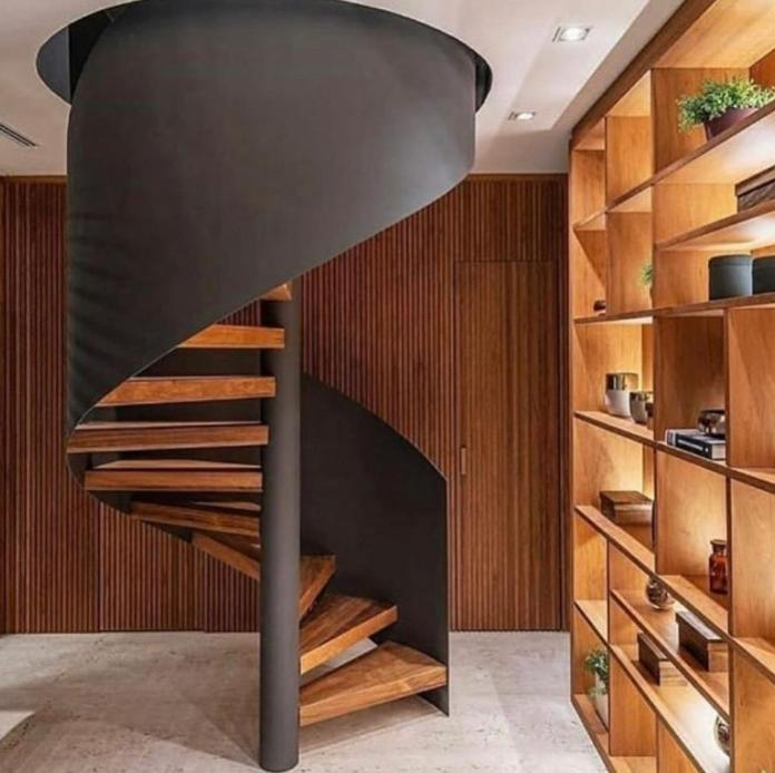 wooden anda metal Spiral Staircase