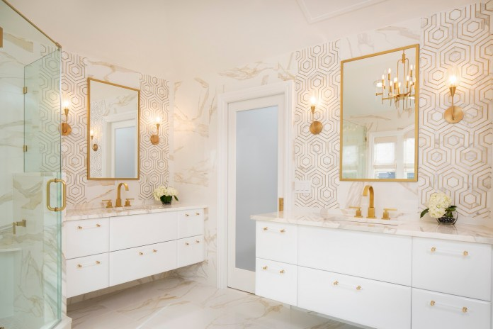 bathroom with gold accent