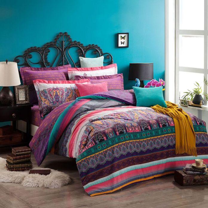 Bohemian Bedroom in Purple Color