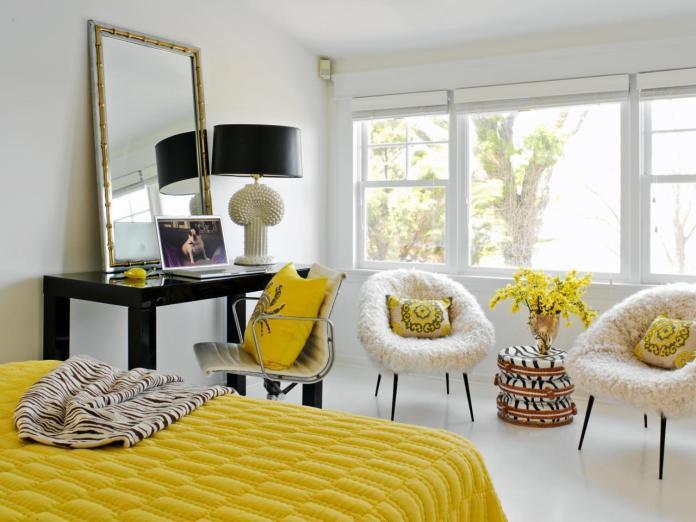 Bohemian Bedroom in Yellow Color