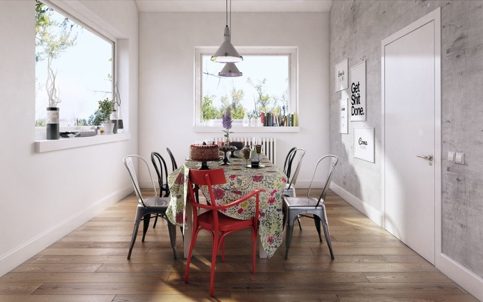 Scandinavian Dining Room with Window