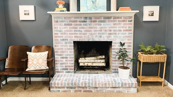 Unique Brick Fireplace
