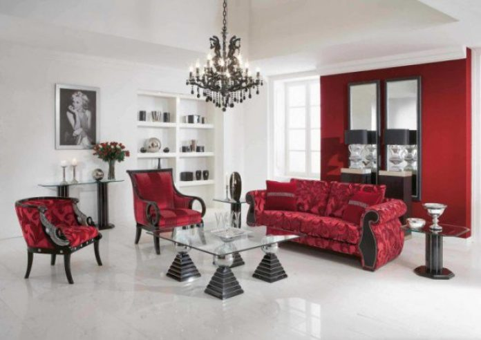 Red Feminine Living Room