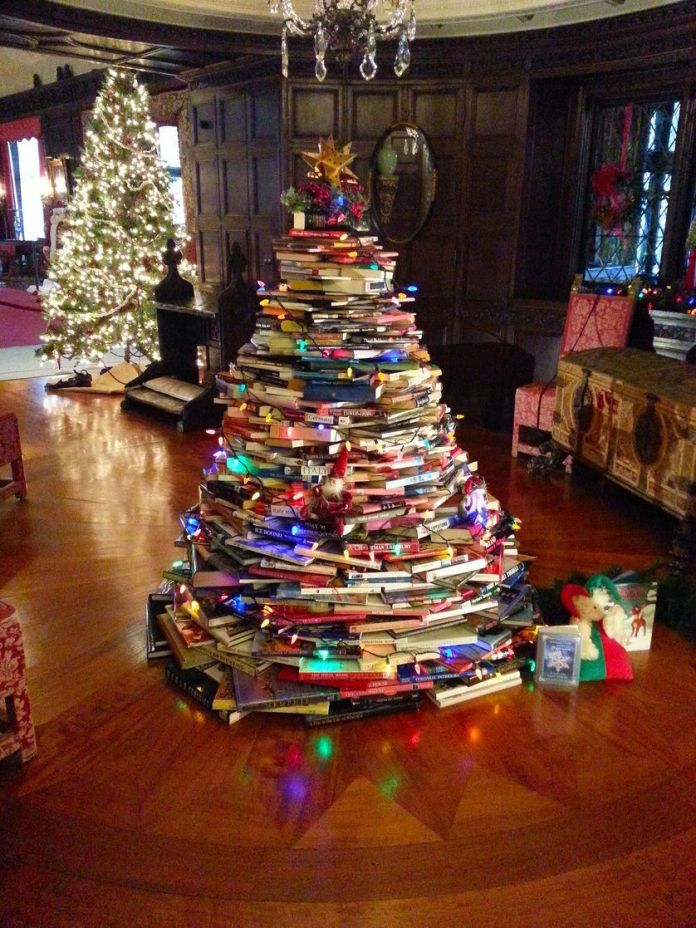 Unique Christmas Tree from a Stack of Books
