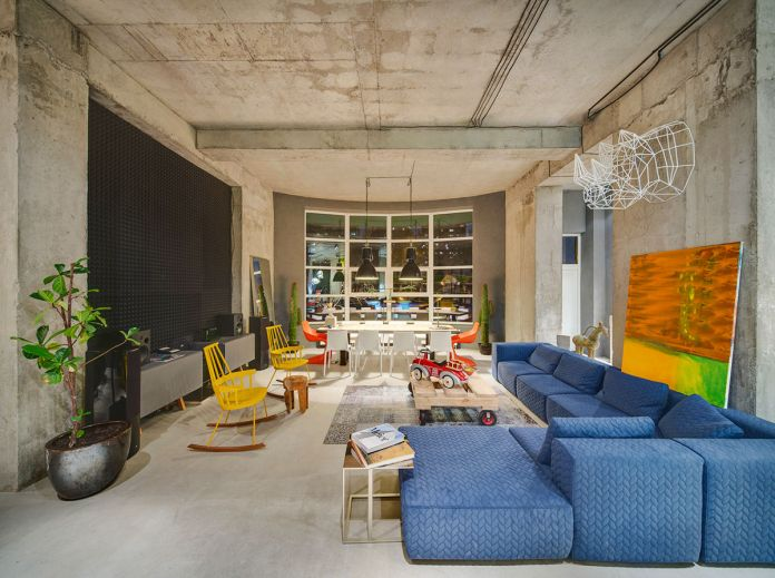 Colorful Industrial Living Room