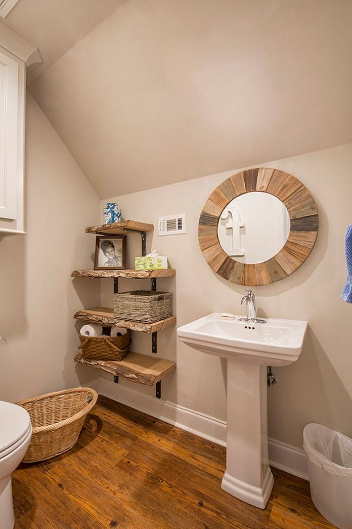 Rustic Bathroom With Wooden Shelves